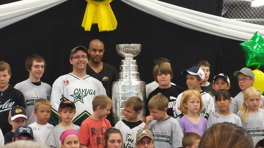 Former Blackhawks goalie Ray Emery shares Stanley Cup with minor hockey kids in hometown Cayuga, Ont., Canada. Note to Justin Bieber: No kids are touching the Cup.  (Photo: Hockey Hall of Fame)