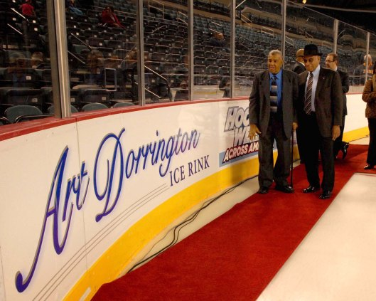 Hockey pioneers Art Dorrington, left, and Willie O'Ree have ice rinks named after them. (Photo by Tom Briglia, PhotoGraphics)