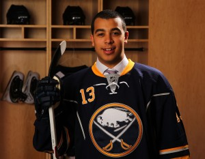 After Sabres' camp, Nicholas Baptiste is back in Sudbury.(Photo by Bill Wippert via Getty Images)