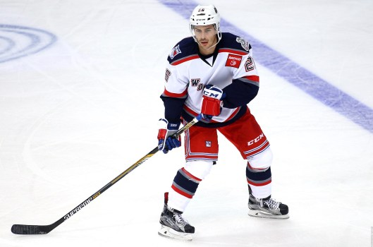Defenseman Raphael Diaz patrols the blue line for the AHL's Hartford Wolf Pack (Photo/Chirs Rutsch/Hartford Wolf Pack).
