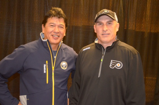 Sabres coach Ted Nolan, left, and Flyers' coach Craig Berube before their teams squared off (Philadelphia Flyers photo).