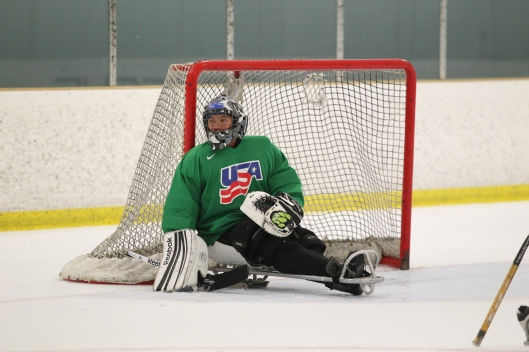Army  Staff Sgt. Jen Lee, defending the goal. (Photo/USA Hockey, Bill Wippert)