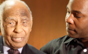 Damon Kwame Mason (right)interviewed hockey great Herb Carnegie before he passed away in March 2012.
