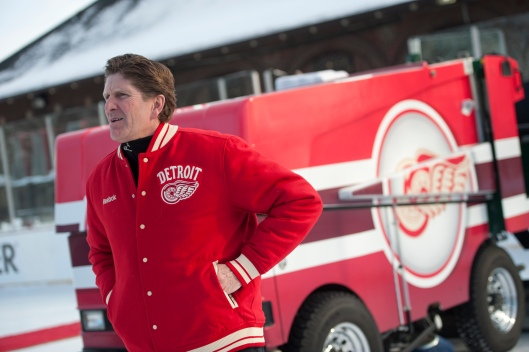 Red Wings Coach Mike Babcock and Clark Park's new set of wheels (Photo Courtesy of The Detroit News/David Guralnick).