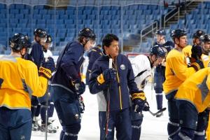 Ted Nolan trades Buffalo blue for Latvia's maroon at Winter Olympics (Bill Wippert, Buffalo Sabres).