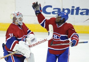 Montreal's P.K. Subban, right, is having an impact on and off the ice.(Photo/Chuck Myers)