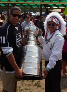 Kings' Jordan Nolan shared the Cup with his family and his tribe (Photo/Phil Pritchard, Hockey Hall of Fame).