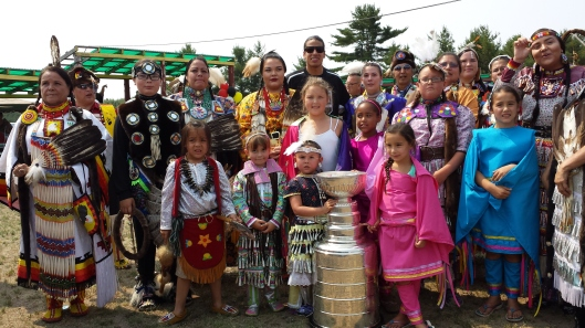 Los Angeles Kings' Jordan Nolan celebrates Stanley Cup victory at a Garden River Pow Wow (Photo/Phil Pritchard, Hockey Hall of Fame).