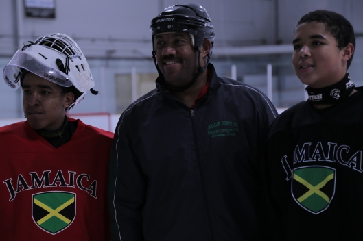 Hockey Coach Graeme Townshend (center) liked what he saw during Jamaica's first-ever ice hockey tryout.