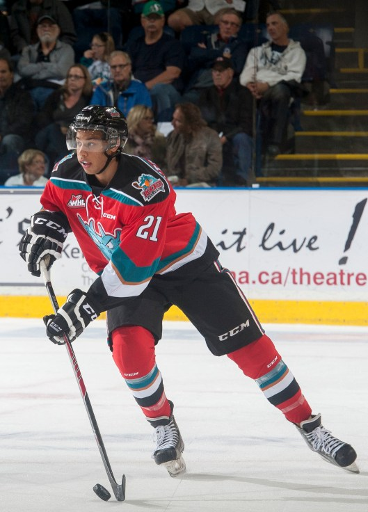 Devante Stephens hopes to follow a long line of Kelowna defensemen into the NHL  (Photo/ Marissa Baecker/Kelowna Rockets).