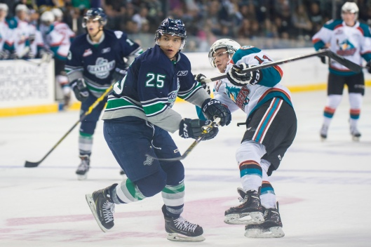 Ethan Bear, left, joins a young Edmonton defensive corps that includes 2013 first-round pick Darnell Nurse (Photo/Brian Liesse/Seattle Thunderbirds)