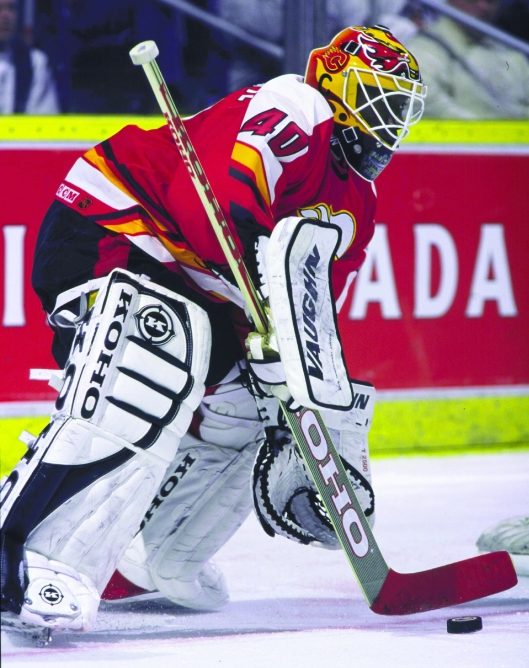 Fred Brathwaite played an NHL career-high 61 games for the Calgary Flames in 1999-00. (Photo courtesy of Calgary Flames Hockey Club).