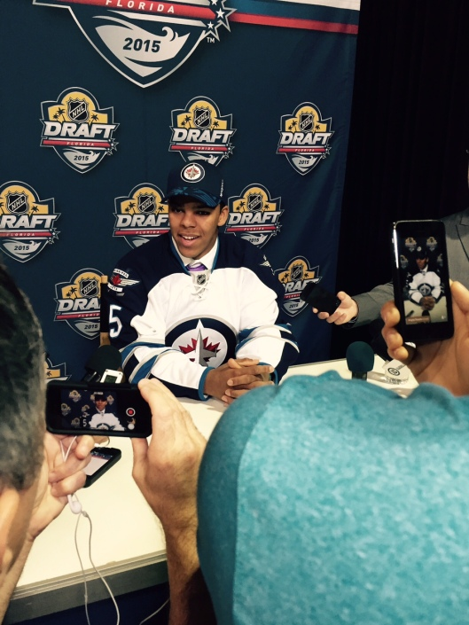 Erik Foley meets the press after being drafted by the Winnipeg Jets.