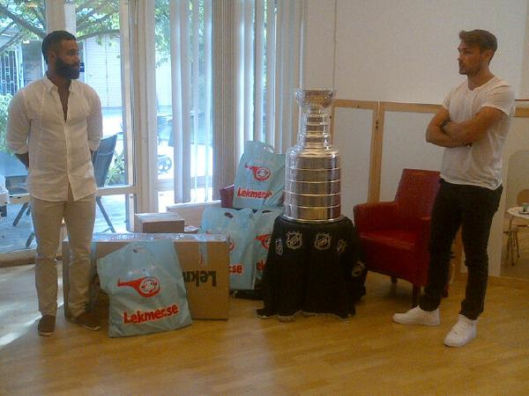 Oduya, left, and Marcus Kruger visit Stockholm's Children's Hospital with the Stanley Cup (Photo/Phil Pritchard, Hockey Hall of Fame).
