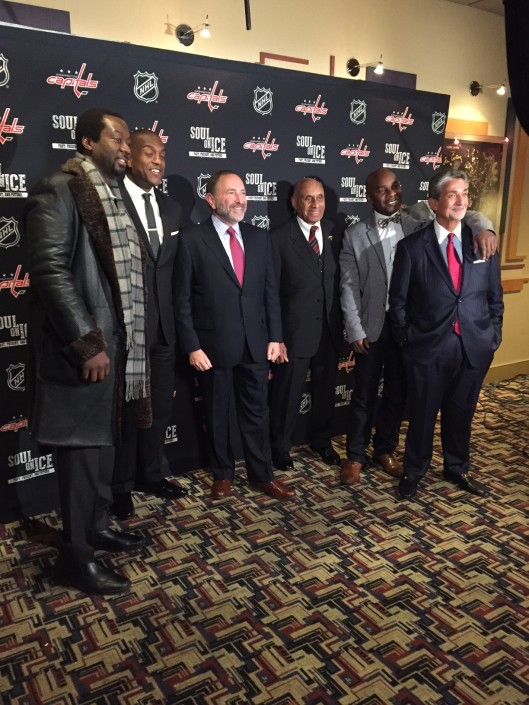 "Left to right, Anson Carter, Kevin Weekes, NHL Commissioner Gary Bettman, hockey legend Willie O'Ree, filmmaker Damon Kwame Mason, and Washington Capitals Owner Ted Leonsis at U.S. screening of Mason's ""Soul on Ice, Past, Present and Future."""