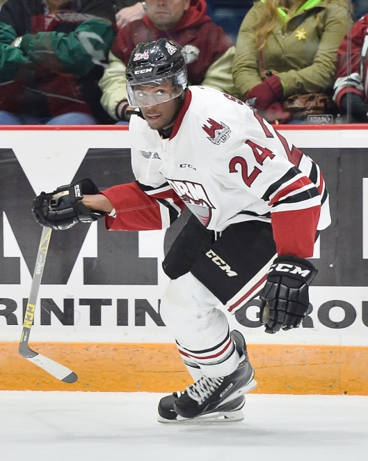 Guelph Storm forward Givani Smith looks to join older brother Gemel Smith in the pros (Photo/Terry Wilson/OHL Images).