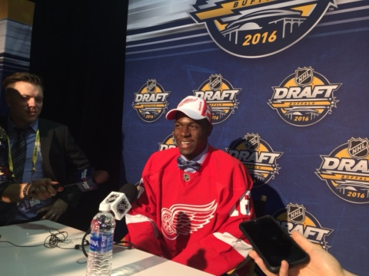 Guelph Storm forward Givani Smith is all smiles after the Detroit Red Wings chose him in the second round of the 2016 NHL Draft.