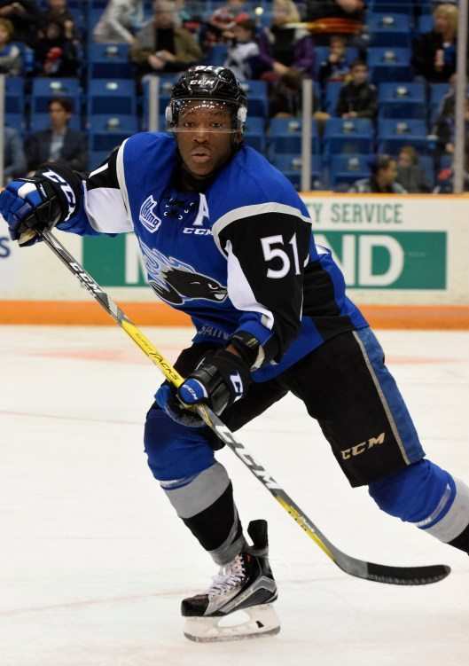 Saint John Sea Dogs forward Bokondji Imama is putting the puck in the net more and fighting less, per instructions by the Tampa Bay Lightning (Photo/Saint John Sea Dogs).