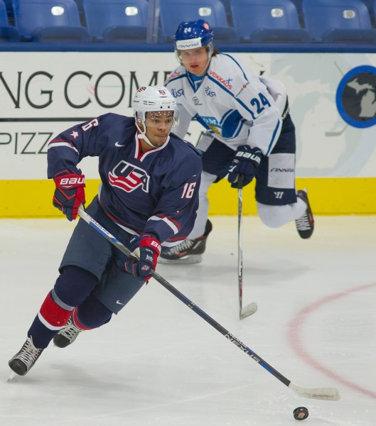 Providence College Friars forward Erik Foley in action for Team USA against Finland (Photo/Rena Laverty/USA Hockey).